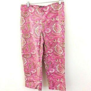 Talbots Paisley Pink Crop Pants 8